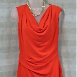 Orange Sleeveless Cowl Neck Cocktail Dress